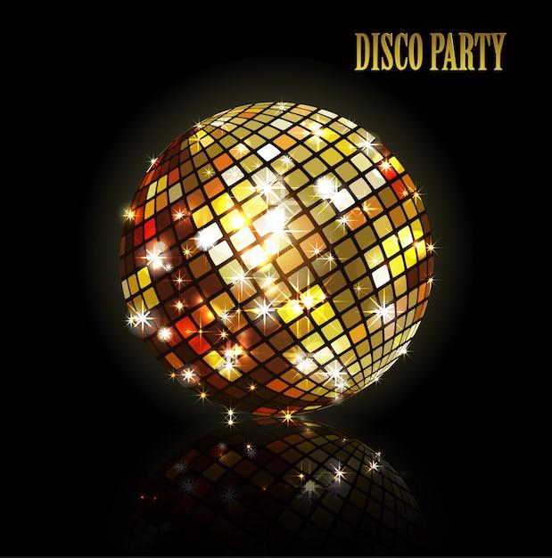 Bola de discoteca dourada. Vetor Premium