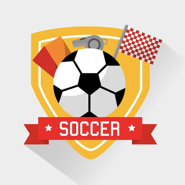 Bola de esporte de futebol cartões apito e bandeira | Vetor Premium