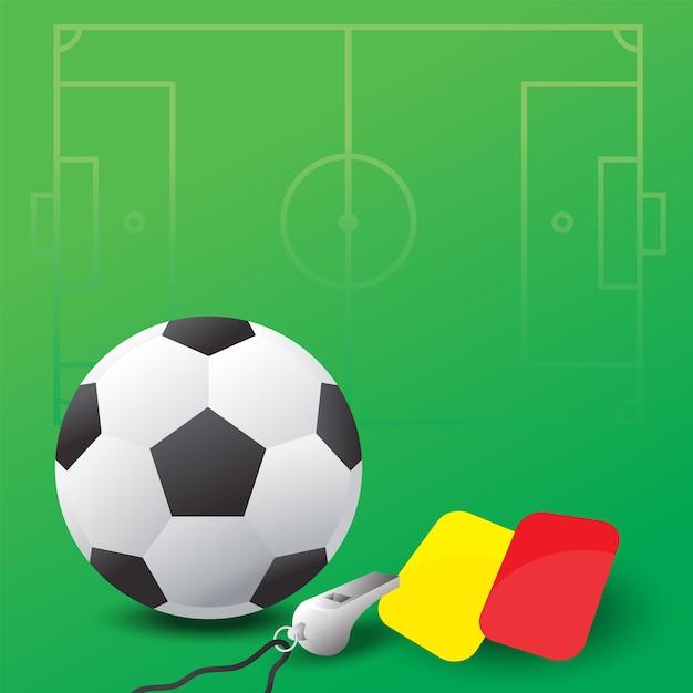Bola de futebol, apito e cartões vermelhos e amarelos | Vetor Premium