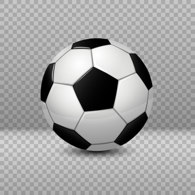 Bola de futebol detalhada isolada em fundo transparente Vetor Premium