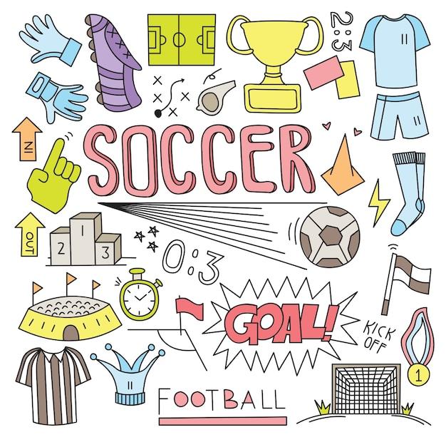 Bola de futebol doodle ilustração vetorial conjunto Vetor Premium