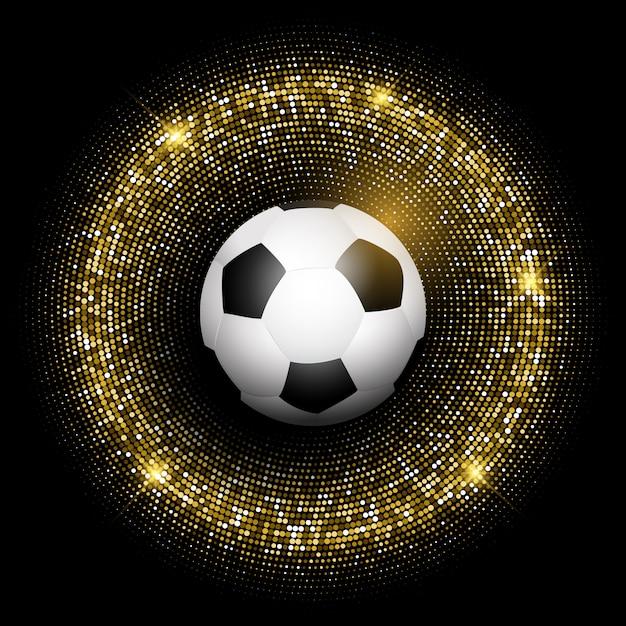 Bola de futebol no fundo dourado brilhante Vetor grátis