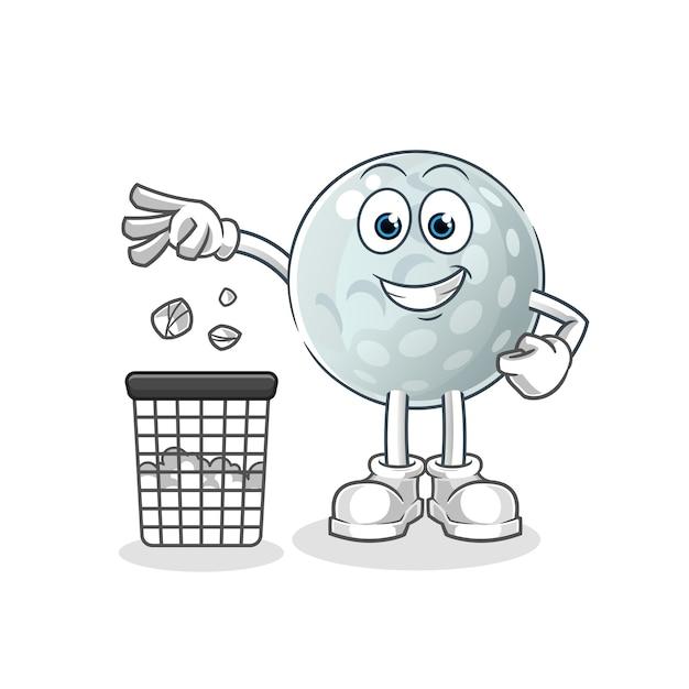 Bola de golfe jogue lixo no mascote da lata de lixo. desenho animado Vetor Premium