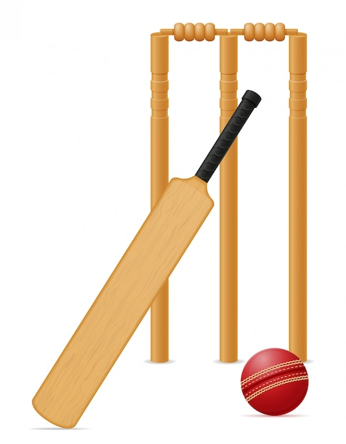 Bola de morcego de equipamentos de críquete e wicket vector illustration Vetor Premium