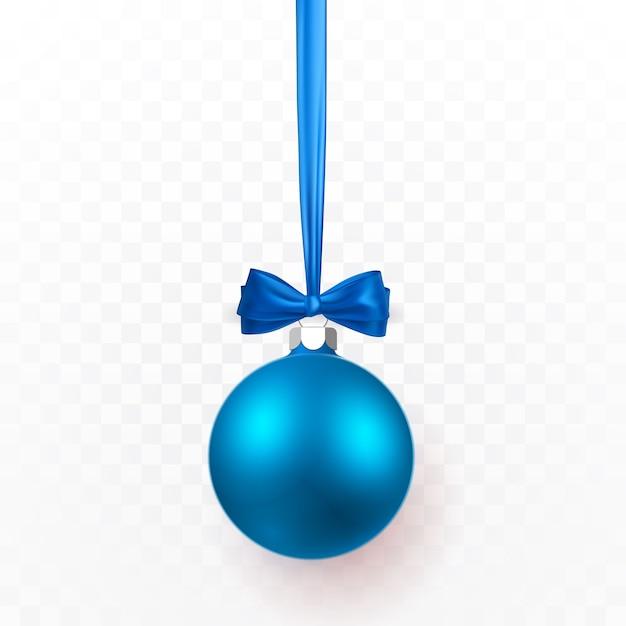 Bola de natal azul com laço azul. bola de vidro de natal em fundo transparente. molde da decoração do feriado. Vetor Premium