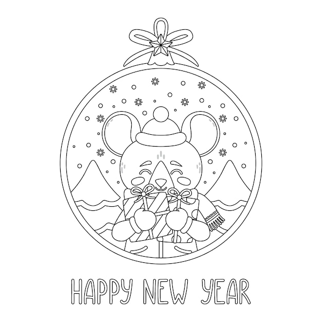 Bola de natal com rato segurando presentes Vetor Premium