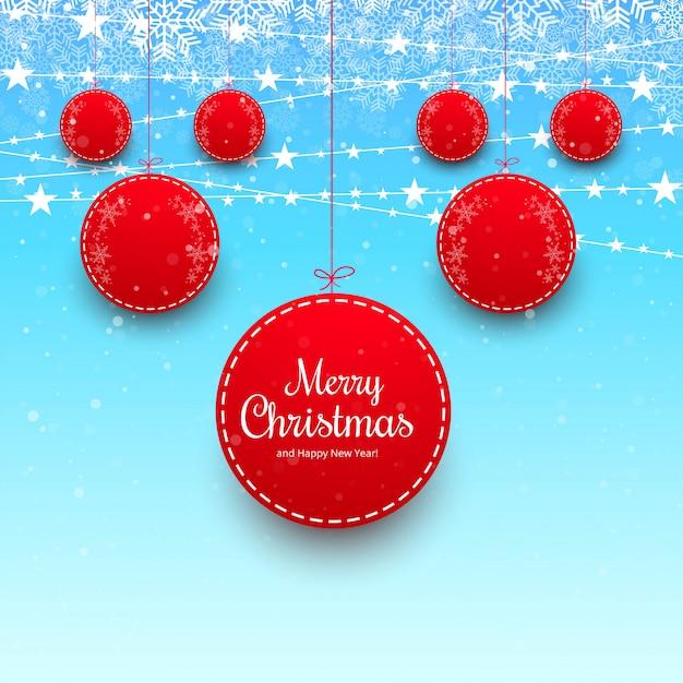 Bola de natal feliz com fundo colorido cartão Vetor grátis