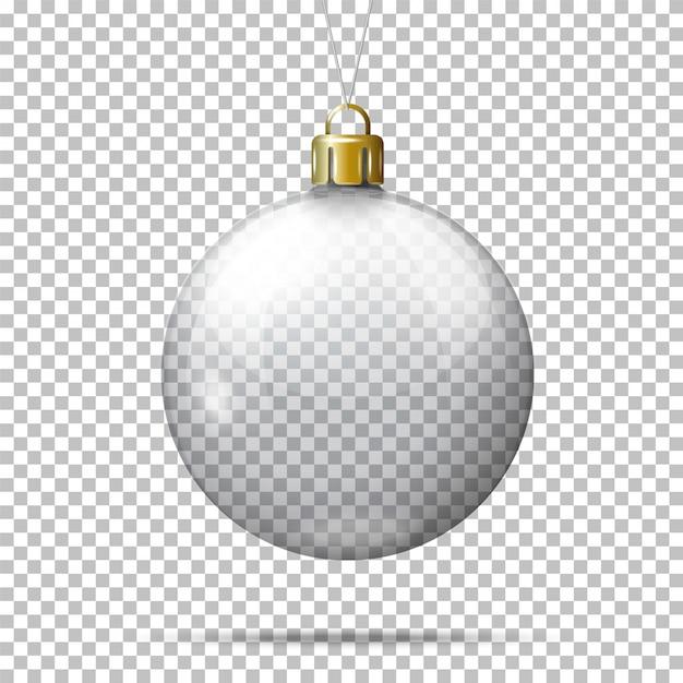 Bola de natal transparente realista de vetor, em fundo xadrez. Vetor Premium