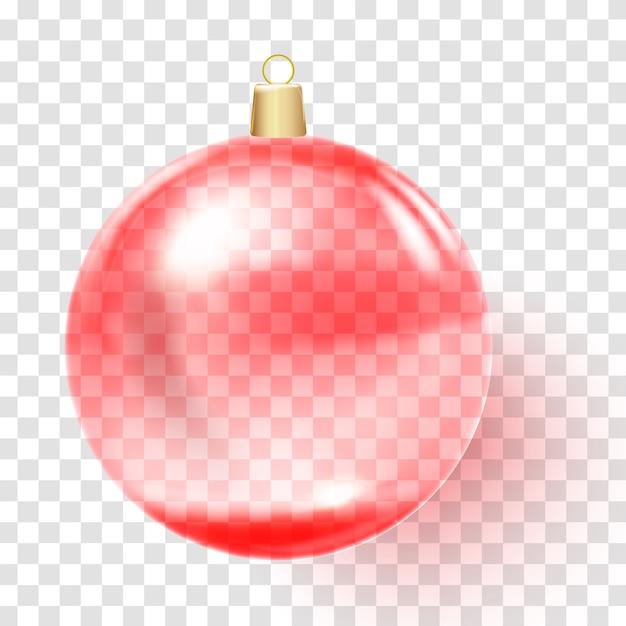 Bola de natal vermelha. bola de vidro de natal rosa. Vetor Premium