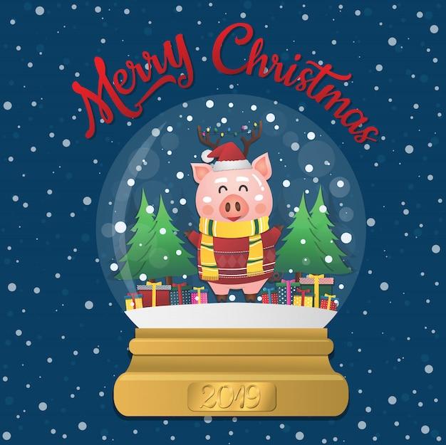 Bola de neve de natal de 2019 com porco Vetor Premium