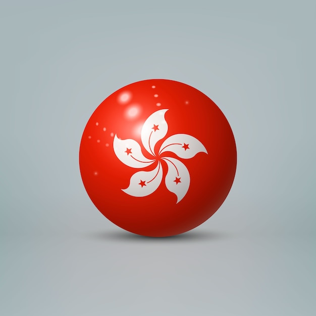 Bola de plástico brilhante realista com bandeira de hong kong Vetor Premium