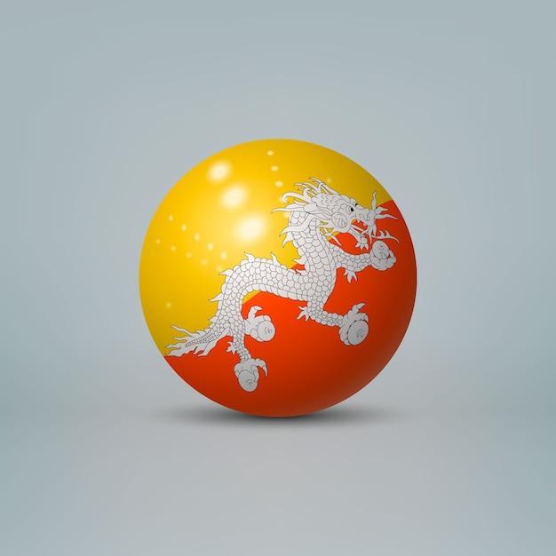 Bola de plástico brilhante realista com bandeira do butão Vetor Premium