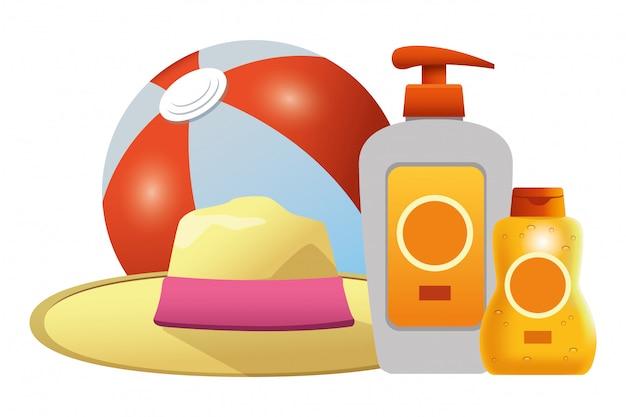 Bola de praia e sol bronzers com chapéu de verão Vetor Premium