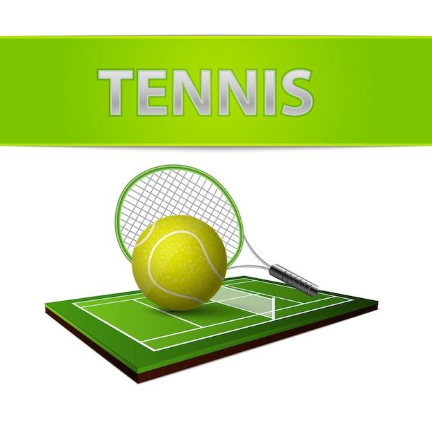 Bola de tênis e emblema de campo de grama verde Vetor grátis