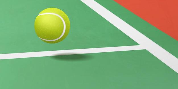 Bola de tênis voando sob vetor realista de tribunal Vetor grátis