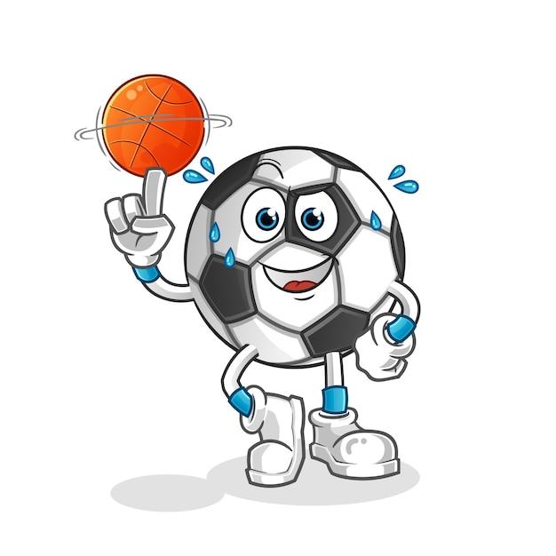 Bola jogando bola de basquete mascote ilustração Vetor Premium