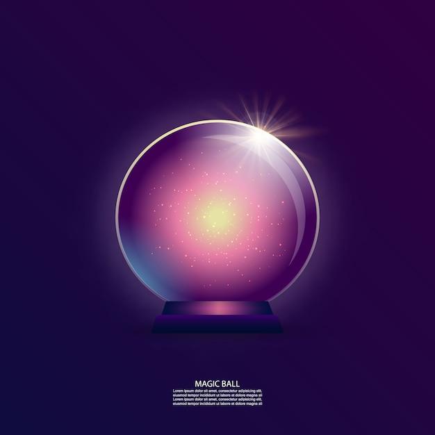 Bola mágica com estrelas e brilho Vetor Premium