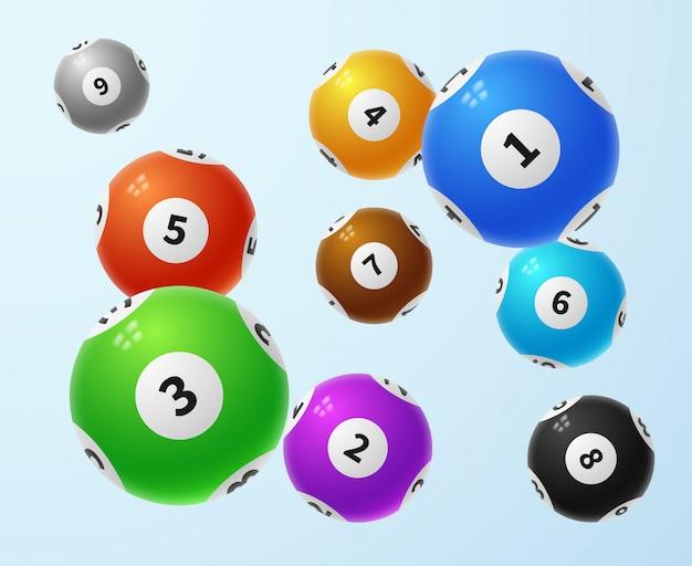 Bolas de loteria, conceito de vetor de jogo de loteria de esportes Vetor Premium