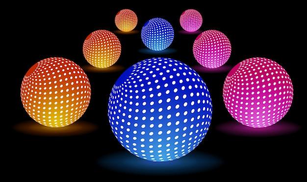 Bolas de luz digital Vetor Premium