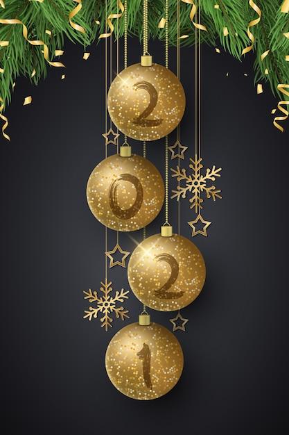 Bolas de natal brilhantes com números de ano novo e árvore de abeto. pincel de grunge. Vetor Premium