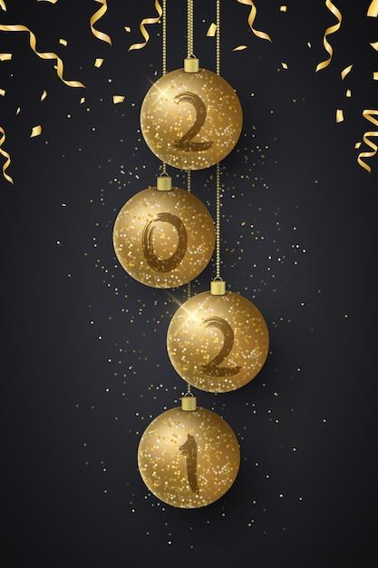 Bolas de natal brilhantes com números de ano novo e confetes voadores. pincel de grunge. Vetor Premium