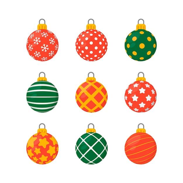 Bolas De Natal Coloridas Em Design Plano Vetor Gratis