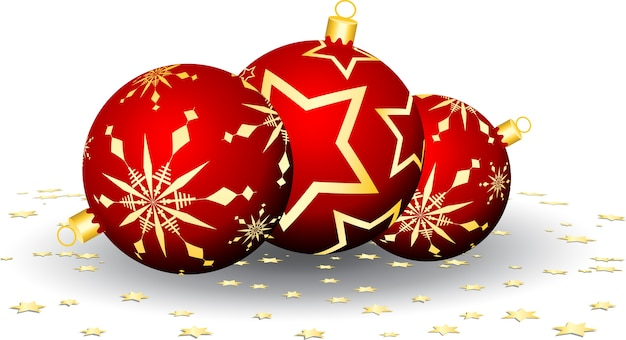 Bolas de natal e confetes estrelados Vetor grátis