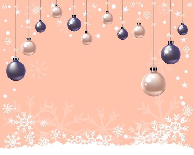 Bolas de natal e flocos de neve em pastel laranja Vetor Premium