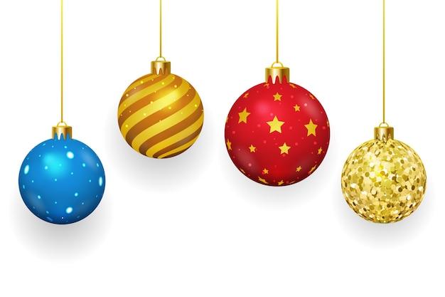 Bolas de natal em fundo branco. natal e ornamento, temporada de inverno, esfera brilhante, ilustração vetorial Vetor grátis