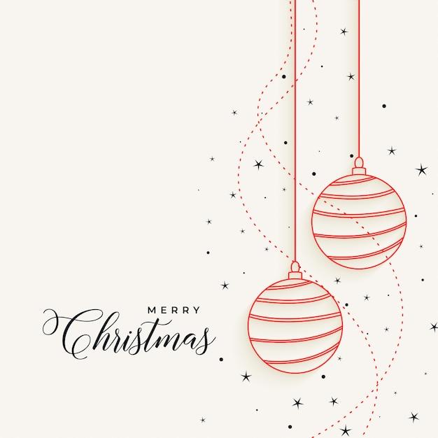 Bolas de natal pendurado elegante linha com estrelas Vetor grátis