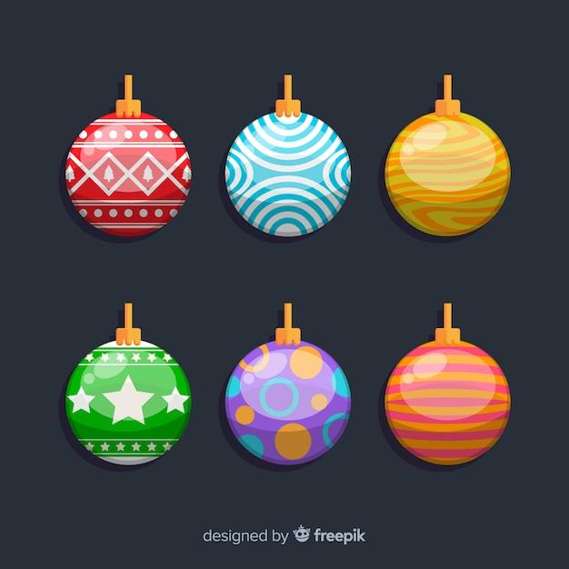Bolas de natal planas em várias cores Vetor grátis