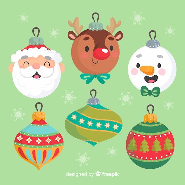 Bolas de personagens de avatar de mão desenhada de natal Vetor grátis