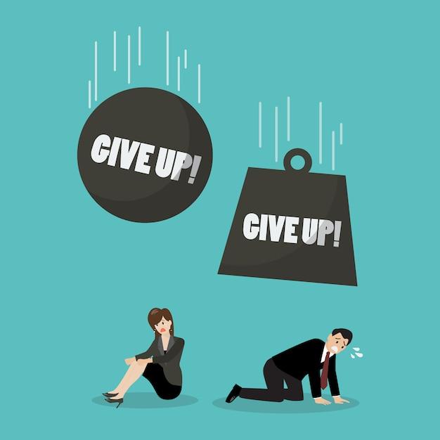 Bolas pesadas com a palavra desistem de cair na mulher e empresário desesperado Vetor Premium