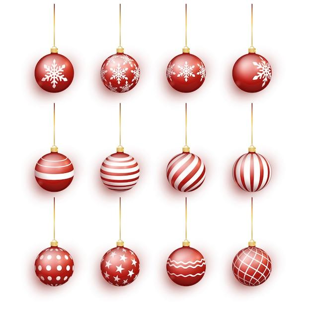 Bolas vermelhas do natal ajustadas isoladas no branco. Vetor Premium