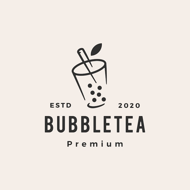 Bolha chá hipster logotipo vintage icon ilustração Vetor Premium