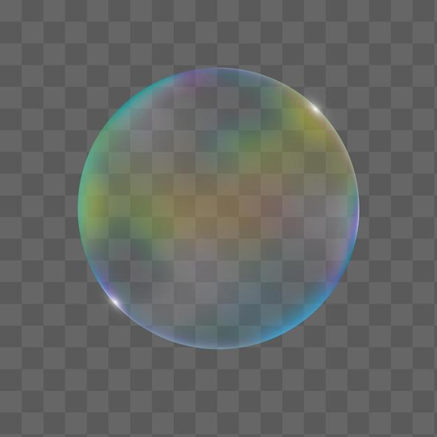 Bolha colorida transparente realista com reflexo Vetor Premium