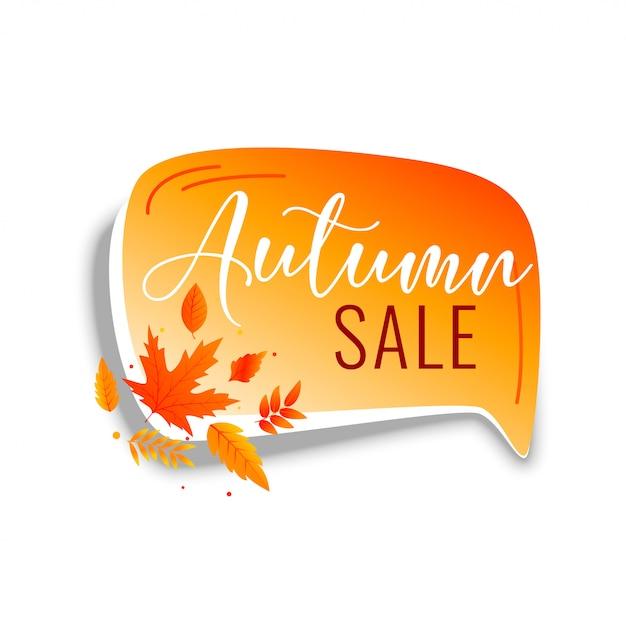 Bolha de bate-papo de venda outono com folhas laranja Vetor grátis