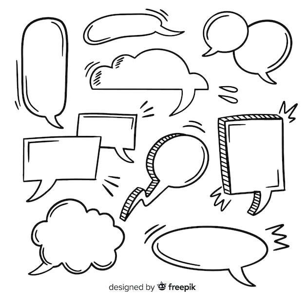 Bolha de discurso desenhada de mão com coleção de espaço Vetor grátis