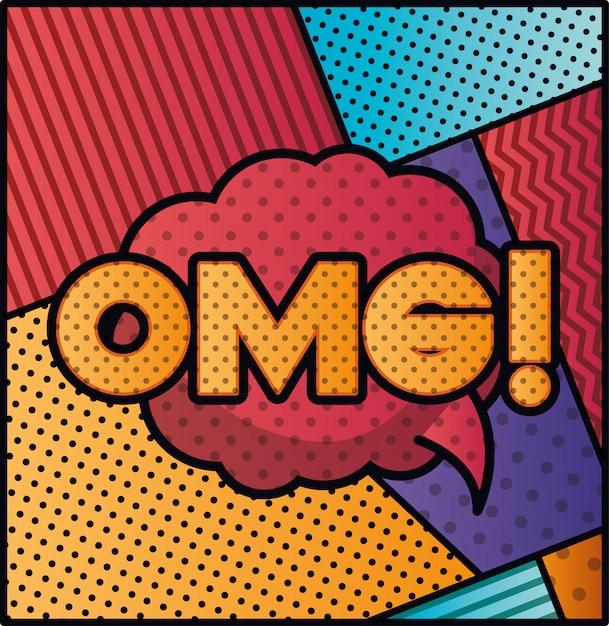 Bolha de expressão com estilo de pop art omg Vetor Premium