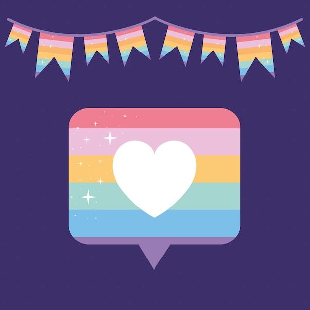 Bolha de mensagem com orgulho de cor lgbtq, um coração no meio e uma guirlanda em um fundo roxo Vetor Premium