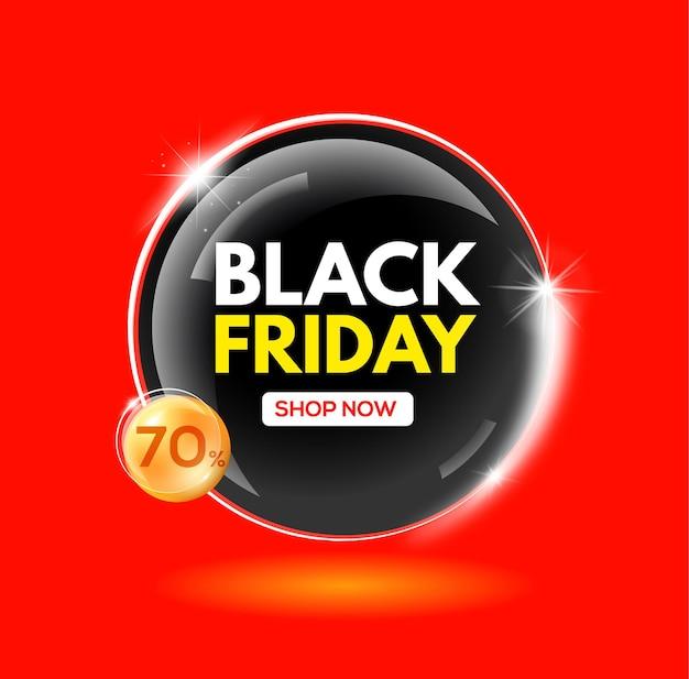 Bolha de sabão da black friday com desconto de 70% Vetor Premium
