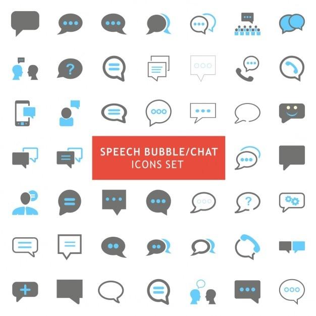 Bolha do discurso azul e cinza cor icons set Vetor grátis