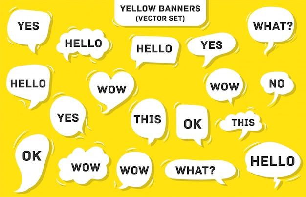 Bolha do discurso em amarelo. sim, isso, uau, o que, olá, ok. Vetor Premium