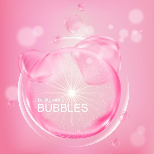 Bolhas cor de rosa com essência de água em design plano Vetor Premium
