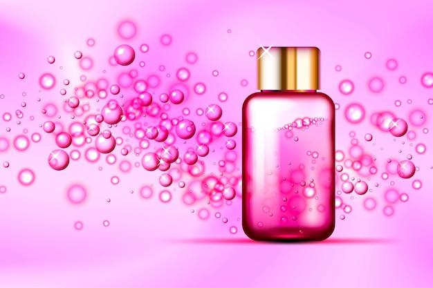 Bolhas cor de rosa e frasco de vidro de perfume em fundo de seda abstrato Vetor Premium
