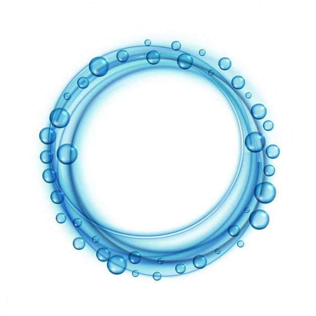 Bolhas de água de sabão azul fundo de quadro Vetor grátis