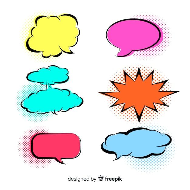 Bolhas de discurso coloridas brilhantes variedade Vetor grátis
