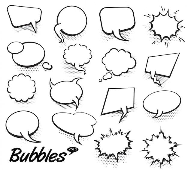 Bolhas de discurso de texto em quadrinhos de vetor Vetor Premium