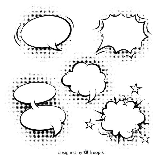 Bolhas de discurso em quadrinhos em branco de formas diferentes Vetor Premium