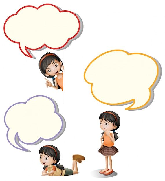 Bolhas de fala e garotinha Vetor grátis